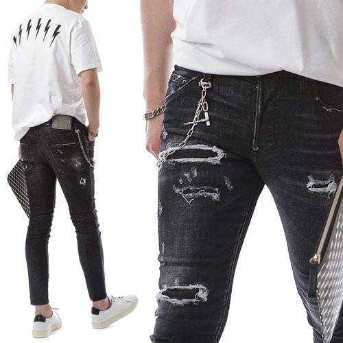 Pantalone di jeans indossati con lavaggio antistress colorante a prova di uomo Nero Skater Fit (escluso il collegamento a catena)