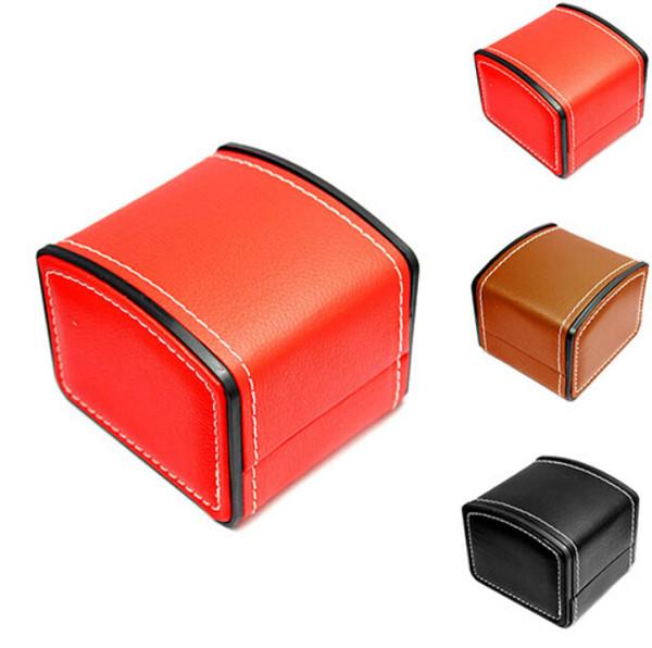 Caixa de Relógio de moda Falso Couro Quadrado moda Jóias Assista Caso Caixa de Presente com Almofada de Travesseiro