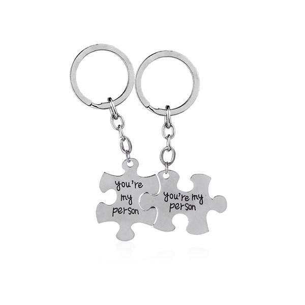 Carta você é minha pessoa Jigsaw Puzzle Chaveiro Presente Da Jóia Para O Amante Casais Sleutelhanger Saco Chaveiro Bugiganga Dia Dos Namorados