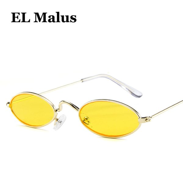[EL Malus]Sexy Small Little Thin Oval Frame Sunglasses Women Men Gold Vintage Pink Red Yellow Lens Reflective Female Red Eyewear SG013