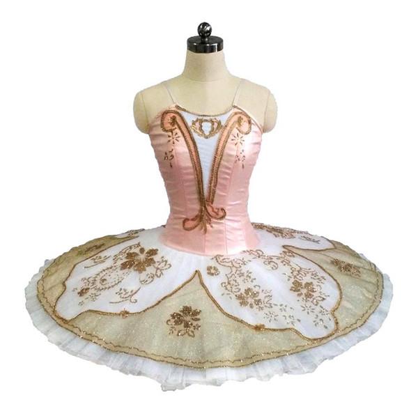 Adulto profissional ballet tutu rosa de ouro mulheres nutcracker fada boneca ballet trajes de dormir beleza panqueca tutu ballet dress para meninas