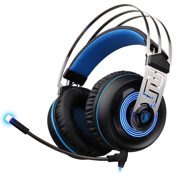 SADES A7 7.1 Virtual Surround Sound Cuffia da gioco USB con microfono a cancellazione del rumore intelligente Luce a LED per computer portatile Mac