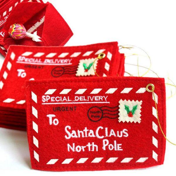 Noel Tebrik Kartları için Zarflar Kırmızı Santa Hediye Çanta Kutuları Şeker Cep Para Noel Ağacı Süslemeleri için