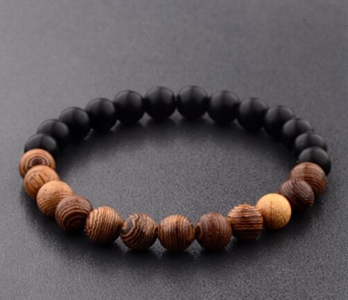 Nuovi monili di legno naturale dei braccialetti degli uomini nero meditazione di etincano braccialetto bianco donne preghiera gioielli yoga ABJ005