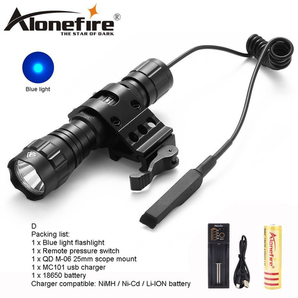 AloneFire CREE 501Bs LED blue light Multi-color Hunting Tactical Flashlight Torch Camping lighting for Hunting 1x18650 battery