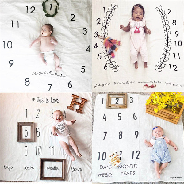 best selling Infant Photo Background Mat clock Backdrop Instagram Blanket Infant Baby Milestone Blanket Photo Photography Prop 100X100 CM