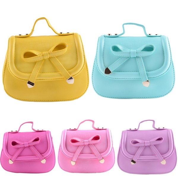 Fashion Baby Girls Shoulder Bags Accessories Kids Bowknot Handbags Children PU Leather Party Shell Bag Vogue