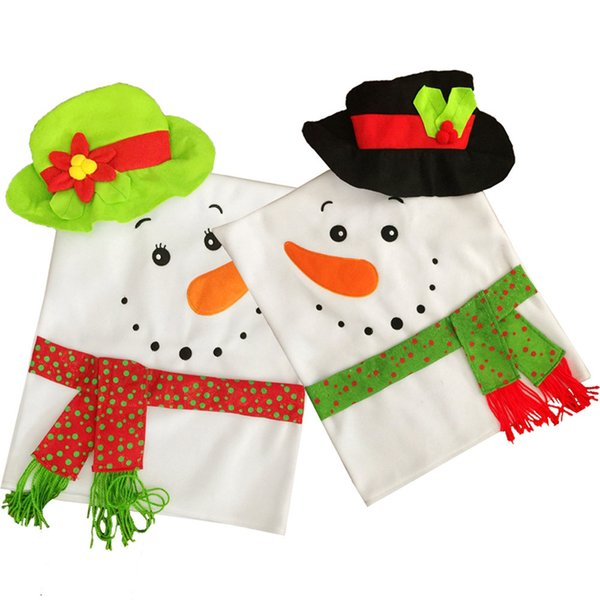 10 Pcs / Lot Christmas Snowman Couples Chair Cover Valentine's Supplies Dinner Table Party Decor Christmas Festival Decoration