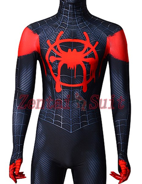 Spider-Man Into the Spider-Verse Miles Morales ISV Printing Spiderman Superhero Costume Spandex Zentai Suit For Kids/Adult Free Shipping