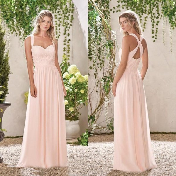 2019 Baby Pink A Line Bridesmaid Dresses Sweetheart Lace Chiffon Bridesmaids Gowns For Summer Sexy Back Design Evening Prom Dress BC0139