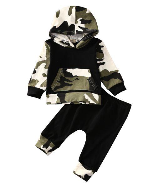 2pcs !! Vente chaude Vêtements Pour Bébés Vêtements De Bébé Ensembles Bébé Garçons Camouflage Camo À Capuche Hauts Pantalon Longue 2 Pcs Tenues Set Vêtements