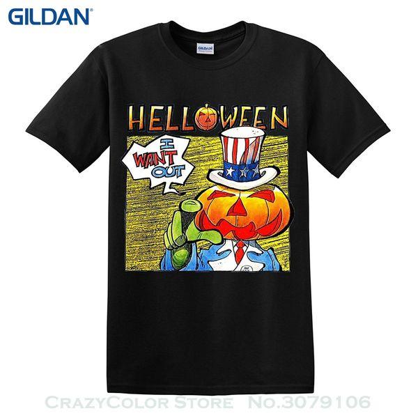 Toptan indirim Kısa Kollu Moda Helloween İstiyorum T gömlek Güç Metal Ağır Metal Yeni
