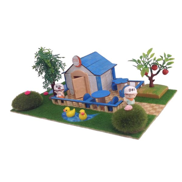Handcrafts Miniature Project Diy Dolls House Garden Building Model Toy Kids Play Fun Early Learning Birthday Gift Dollhouse Furniture Scale Child