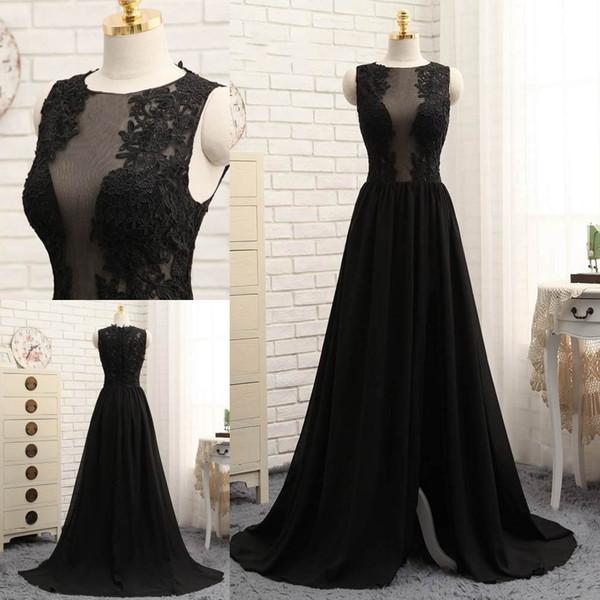 top popular Latest Black A-line Evening Dresses Jewel Neck Appliques Formal Evening Gowns Floor-length Zipper Back Prom Dresses 2019