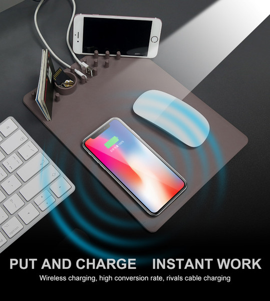 Qi Wireless Charger Charging Holder + Mouse Pad Ruler for iPhone X 8plus samsung s8 phone computer Mouse Pad Mat Gaming MousePaD