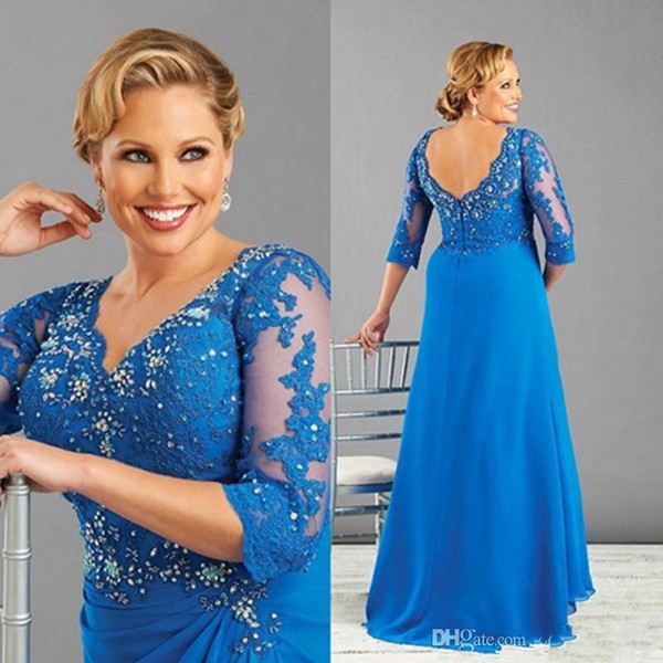 Blue Plus Size Mother of the Bride Dresses with 3/4 Long Sleeves Appliques Rhinestones V Neck Women Formal Evening Gowns Dress