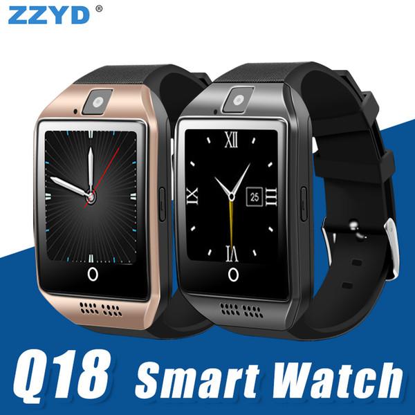 ZZYD Q18 Bluetooth Akıllı Izle android telefonlar için Kamera Desteği ile TF sim Kart Yuvası ile Bluetooth NFC Bağlantısı Paketi