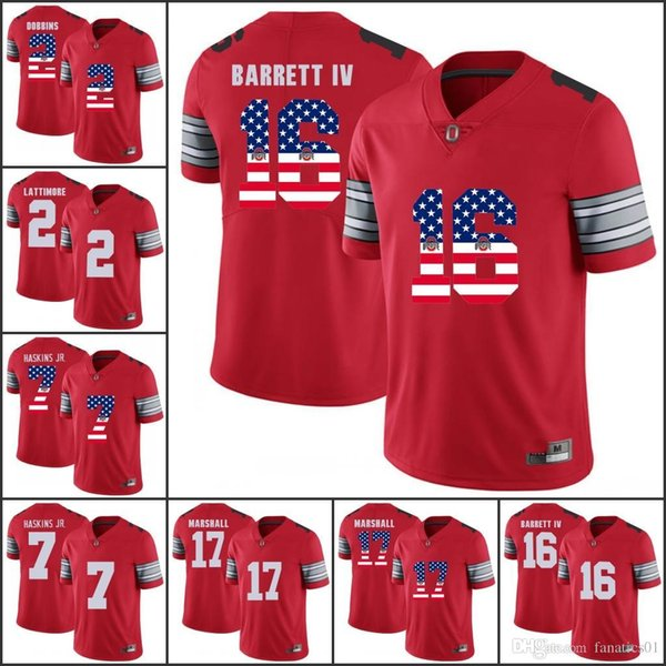 National flag 2018 Ohio State Buckeyes OSU College Football jerseys Dwayne Haskins Jr. JK Dobbins BOSA Elliott Barrett IV Tate Martell