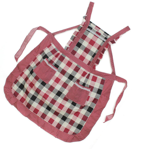 Women's Plaid Restaurant Home Kitchen Cooking Bib Apron Dress with Two Pockets Hot Sale