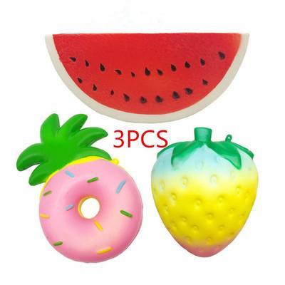 Lovely Jumbo Squishy Slow Rising Fruit Animal 3PCS Toys Super Soft Fashion Lovely Depression Toy For Kidsini Cute