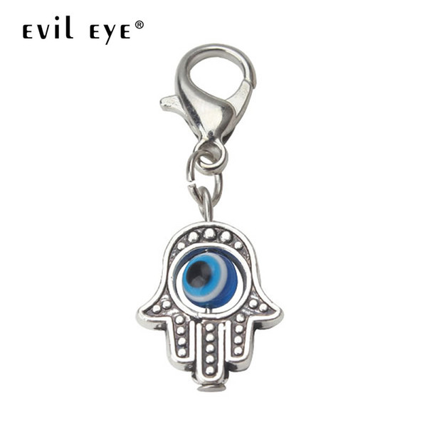 EVIL EYE 10pcs/lot 35*13mm Evil Eye Beads Hamsa Hand Charms Pendent Lobster Clasp Pendant Key Chain Jewelry Accessories EY1909