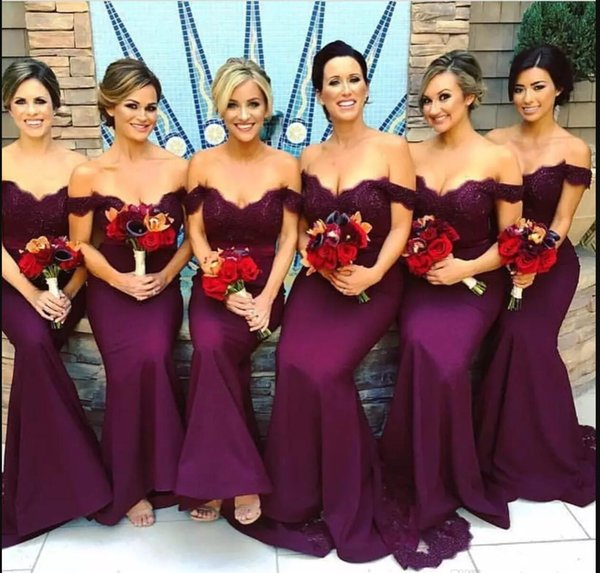 Mermaid Long Bridesmaid Dress Sweetheart Off Shoulder Sweep Train Lace Stain Fall Wedding Guest Dress Burgundy Prom Evening Formal Dress