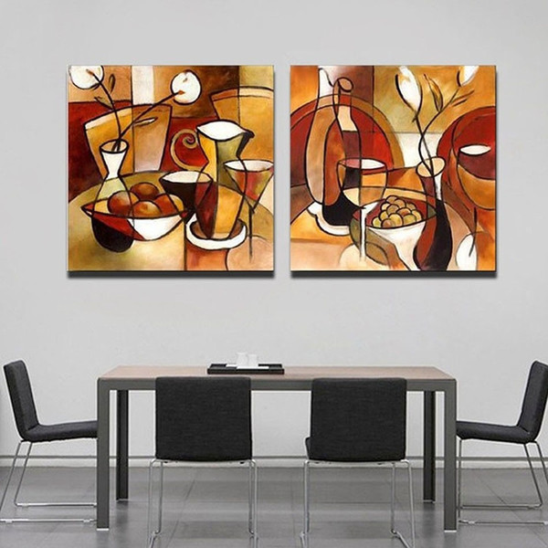 Unframed 2 Panel Handmade Flower Cup Set Abstract Modern Oil Painting On Canvas Home Decor For Kitchen Wall Art Picture