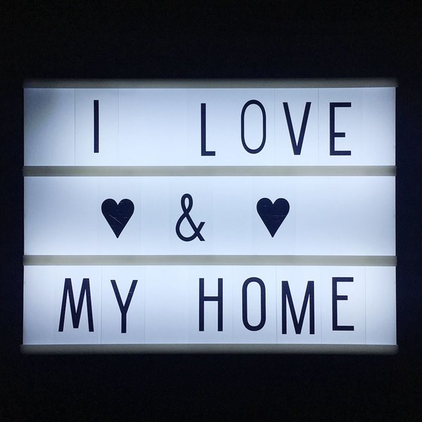 A4 size 3 Line Cinematic Cinema LED Lightbox with Various Letters LED Night Lamp Power For DIY Home Decoration Lighting