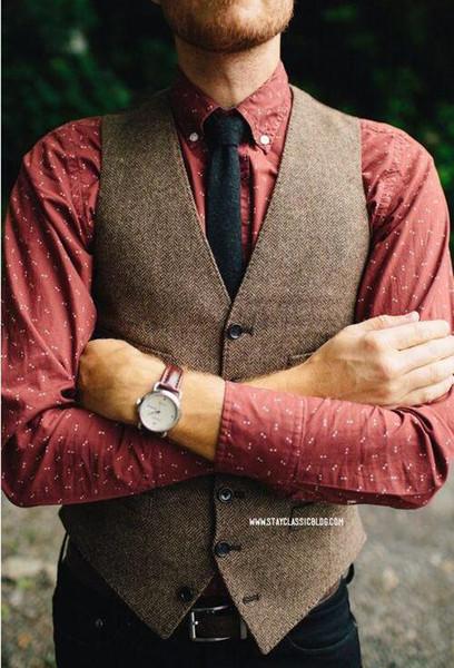 2018 Vintage Brown tweed Vests Wool Herringbone custom made Mens suit tailor slim fit Blazer wedding suits for men plus size