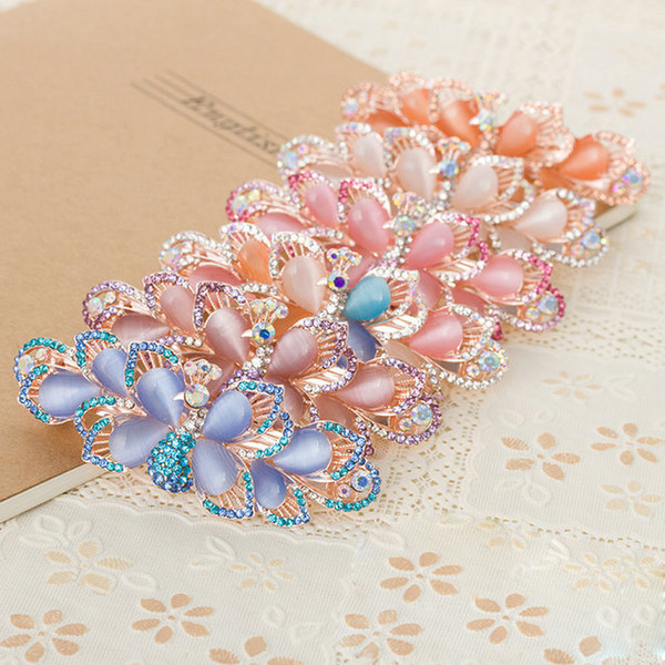 2018 Promotion lady barrettes girl hair clip spring clips Peacock colorful crystal barrette for ladies 6 colors free shipping