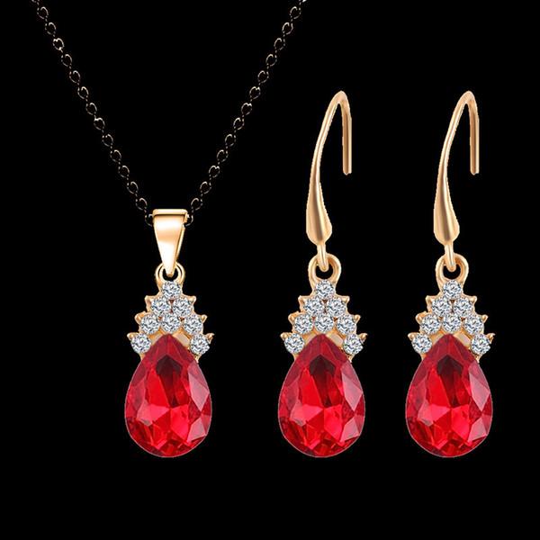 Luxury water Drop jewelry set Crystal Pendant Necklace water Drop Earrings Set gold chain wedding Bridal Jewelry Set For Women