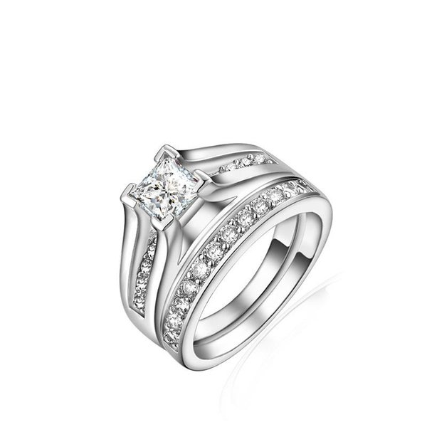 2018 New Vintage 2-Pcs Classic Wedding Engagement Ring Set 1 Ct Princess Cut Jewelry for Women