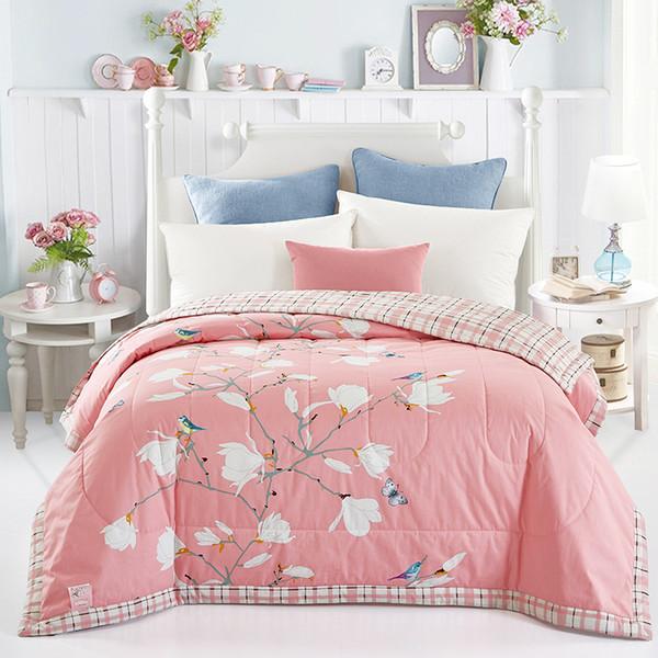 Svetanya Magnolia Print dünne wirft Sommer Tröster Stitching Duvet Quilt 100% Baumwolle gesteppte Decke Plaid