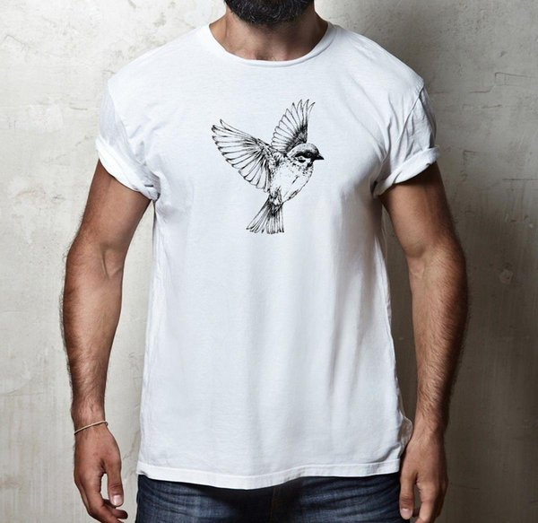 RETRO SPARROW BIRD NATURE ANIMAL WILDLIFE SKETCH 100% algodón Camiseta para hombre TEE
