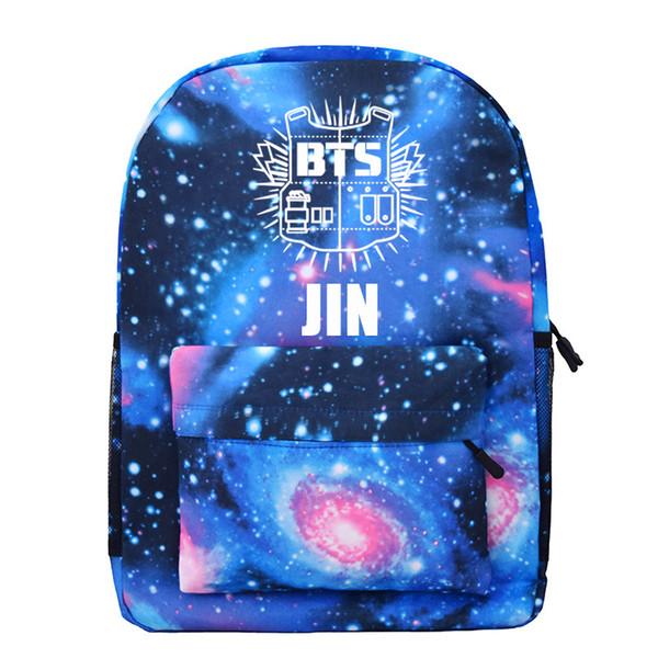 BTS spazio luminoso dello zaino per Ragazze adolescenti ragazzi noctilucous Kpop Satchel Notebook Backpack Viaggi Bagpack Mochila