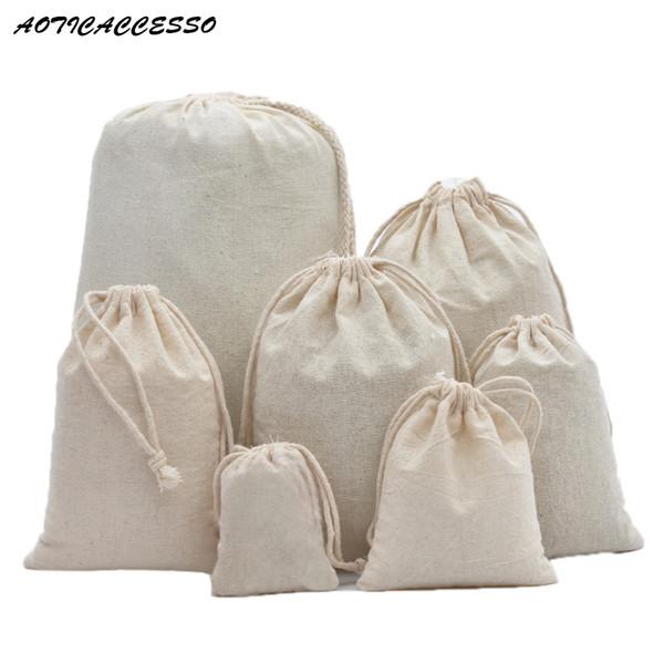 Saf Pamuk Keten Saklama Çantası Seyahat İpli Çanta Sikke çanta Kadın Bez Noel Hediye Paketleme Çamaşır