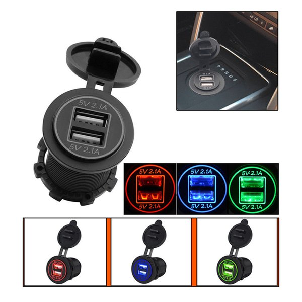 12-24V USB Charger for Motorcycle Auto Truck ATV Boat LED Car 2.1a/2.1a Dual USB Car Charger High Quality