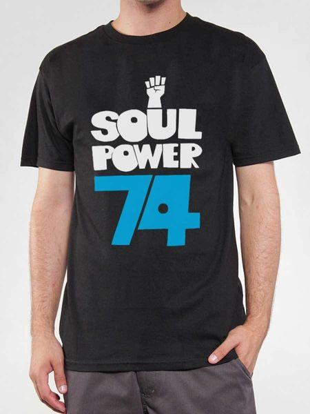 Tee shirt Soul Power 74, T-shirt Noir, Logo Musique Funky, Extrait Maceo Parker Imprimé à manches courtes 100% coton pour homme