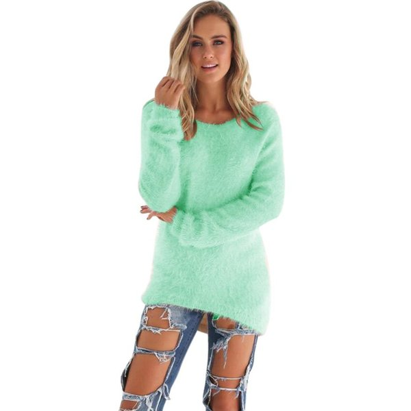 KANCOOLD 2018 Female clothing 2018 Green Sweater Women Long Sleeve Casual Solid Jumper Sweaters Blouse 18juiy11
