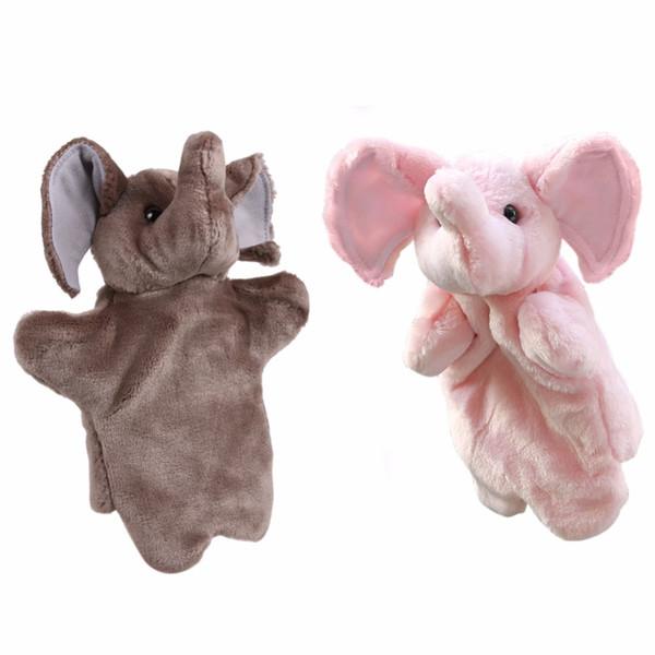 best selling 1 Pcs Hand Puppet Cartoon Animals Elephant Baby Kids Children Kindergarten Teaching Toys Soft Doll Plush Toys Gray, Pink