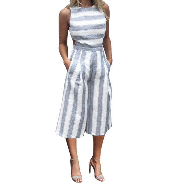 2018 New Elegant Long Jumpsuit Women Fashion Striped Printed Sleeveless Rompers Office Lady Casual Loose One Piece Overall