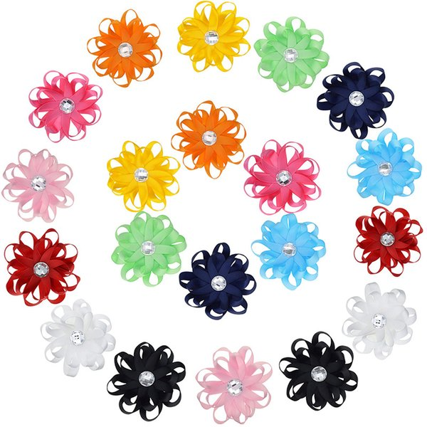 """20PCS Little Girls 3.2"""" Fabric Flower Hair Clips Solid Hair Bows With Rhinestone Barrette Flower Accessories Wholesale"""