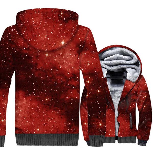 Space Galaxy Star Red 3D Толстовки 2018 Горячая Осень Зима Свободные Кофты Теплые Флисовые Куртки Мужчины Взрослый Плюс Размер M-5XL Пальто