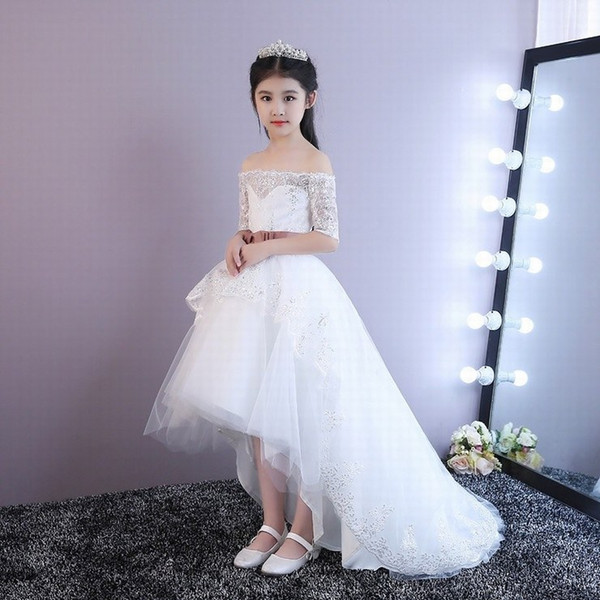 High Low Flower Girl Dresses Boat Neck Half Sleeve Lace Kids Evening Gowns for Wedding First Communion Dresses Vestido First Comunion st159