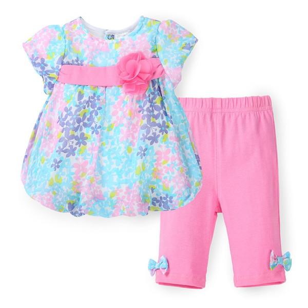 Summer Baby Girl Clothing Set Floral Print Chiffon T-shirt + Cotton Capris Pants Infant Clothing Set Newborn Bebes Clothes
