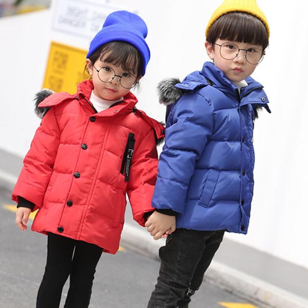 Children Winter Coat Real Fox Fur Collar Toddler Boys Girls Down Jacket Duck Down Filling Kids Snowsuit Outerwear Coat Snow Wear
