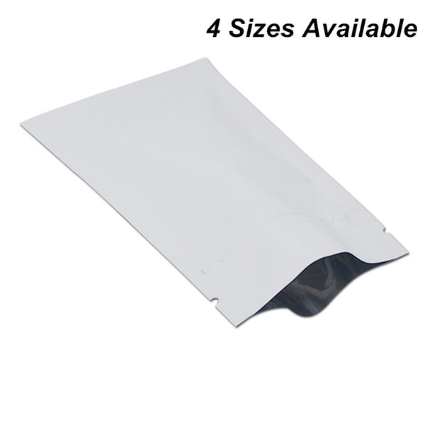 100pcs Matte White Reclosable Foil Aluminum Zip Lock Packaging Bags for Coffee Tea Powder Mylar Bags Mylar Foil Material Pouch for Herbs Nut