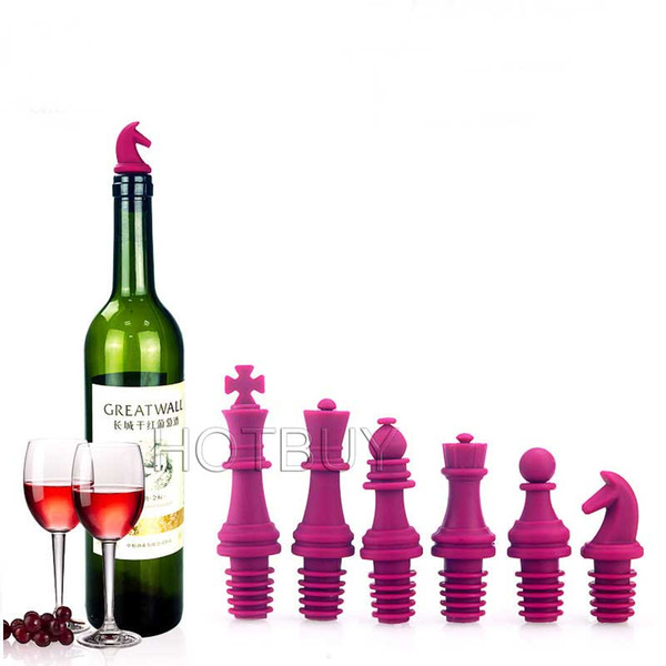 6Pcs Food Grade Silicone Chess Wine Bottle Stopper Reusable Caps Beer Sealer Cover Wedding Party Decor Creative Gifts #4471
