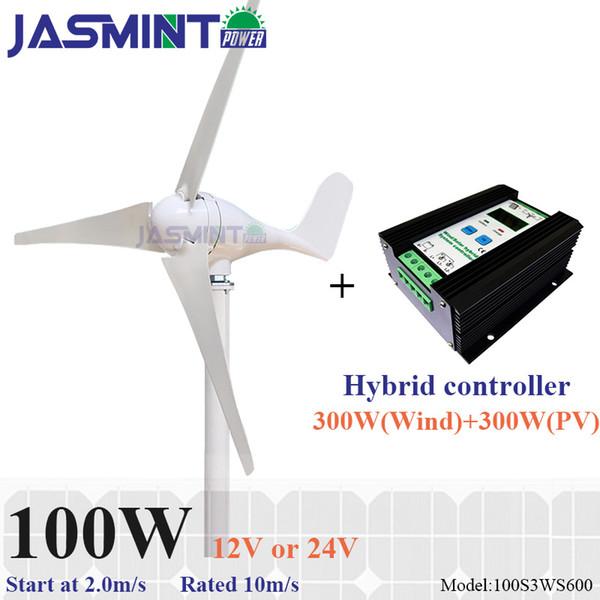100W wind turbine with 600W hybrid controller wind 300W solar 300W 12/24V AC wind mill kit
