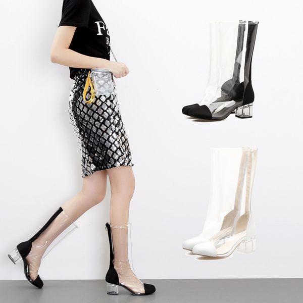 Acheter SWYIVY Femme Bottes PVC Imperméable Bottes De Pluie Chaussures 2018 Automne Transparent Talon Épais Mi Haute Bottes De Pluie Lady Wellies